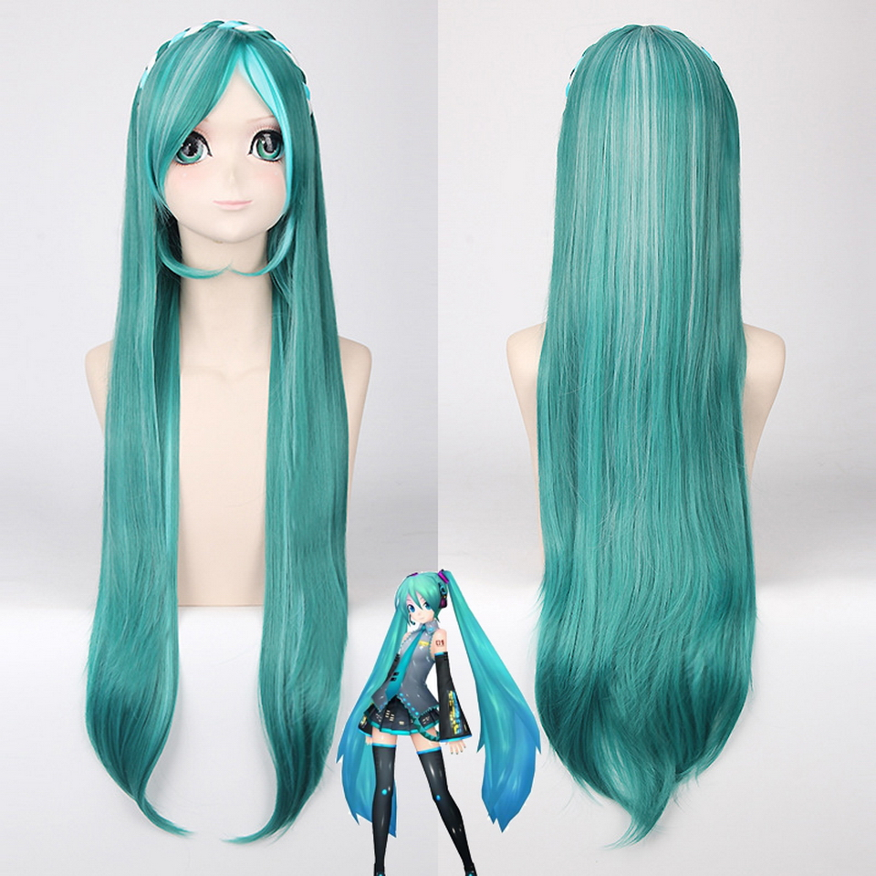 80cm Vocaloid Cosplay Wig Long Straight Mix Green White Highlights Braiding Hair Hatsune Miku Halloween Costume Wigs For Women