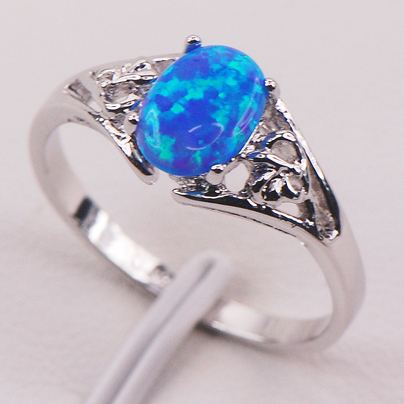 Blue Fire Opal 925 Sterling Silver Woman Ring Size 6 7 8 9 10 11 F593