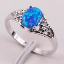 Azul del Ópalo de Fuego 925 Anillo de Plata Mujer Tamaño 6 7 8 9 10 11 F593 Joyería Al Por Mayor Envío gratis
