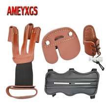 1set Archery Arm Guard Finger Guard Kit 3finger Protection Gloves Bow And Arrow Shooting Protective Gear Set Hunting Accessories bowstring finger guard hunting archery saver soft silicon material protector gear quick shooting target bow and arrow accessory