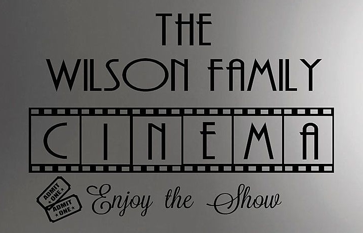 family cinema vinyl wall decal personalized wall quotes movie room