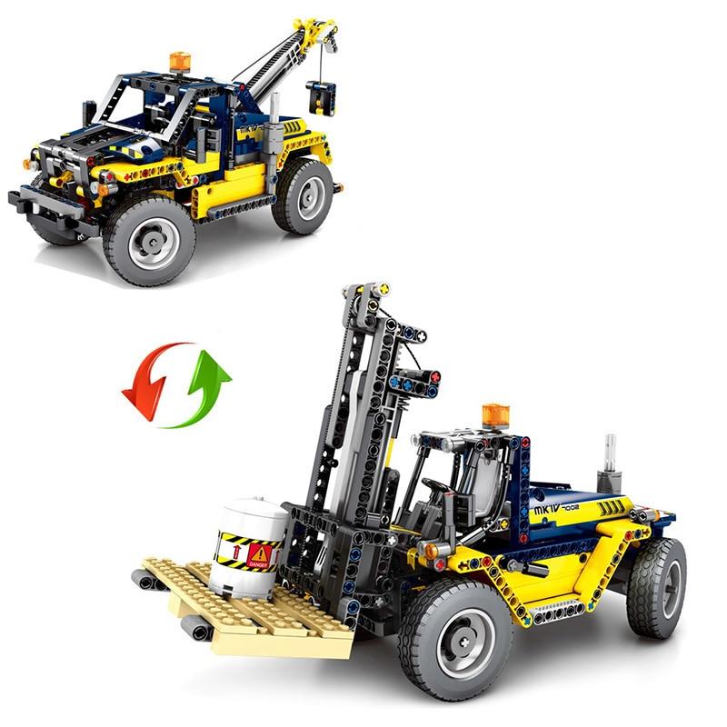 609 pièces Cité Génie Véhicules 2 En 1 Chariot Élévateur Blocs De Construction Compatibles Legoing Technic Camion Grue Briques Jouets Pour Enfants - 2
