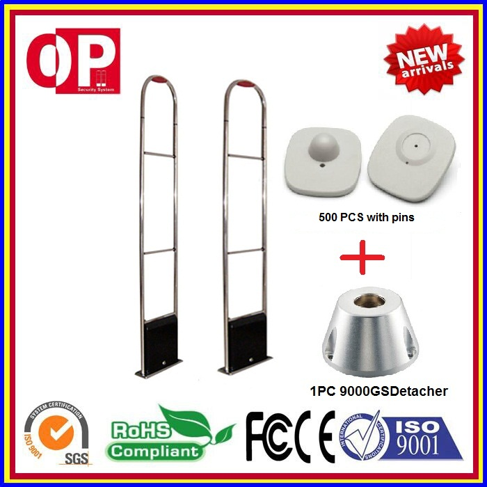 Hot-sales Supermarket Anti-theft Rf  Alarm System For Garment And Clothings Shop+500 Pcs Tag +1 Pc Detacher