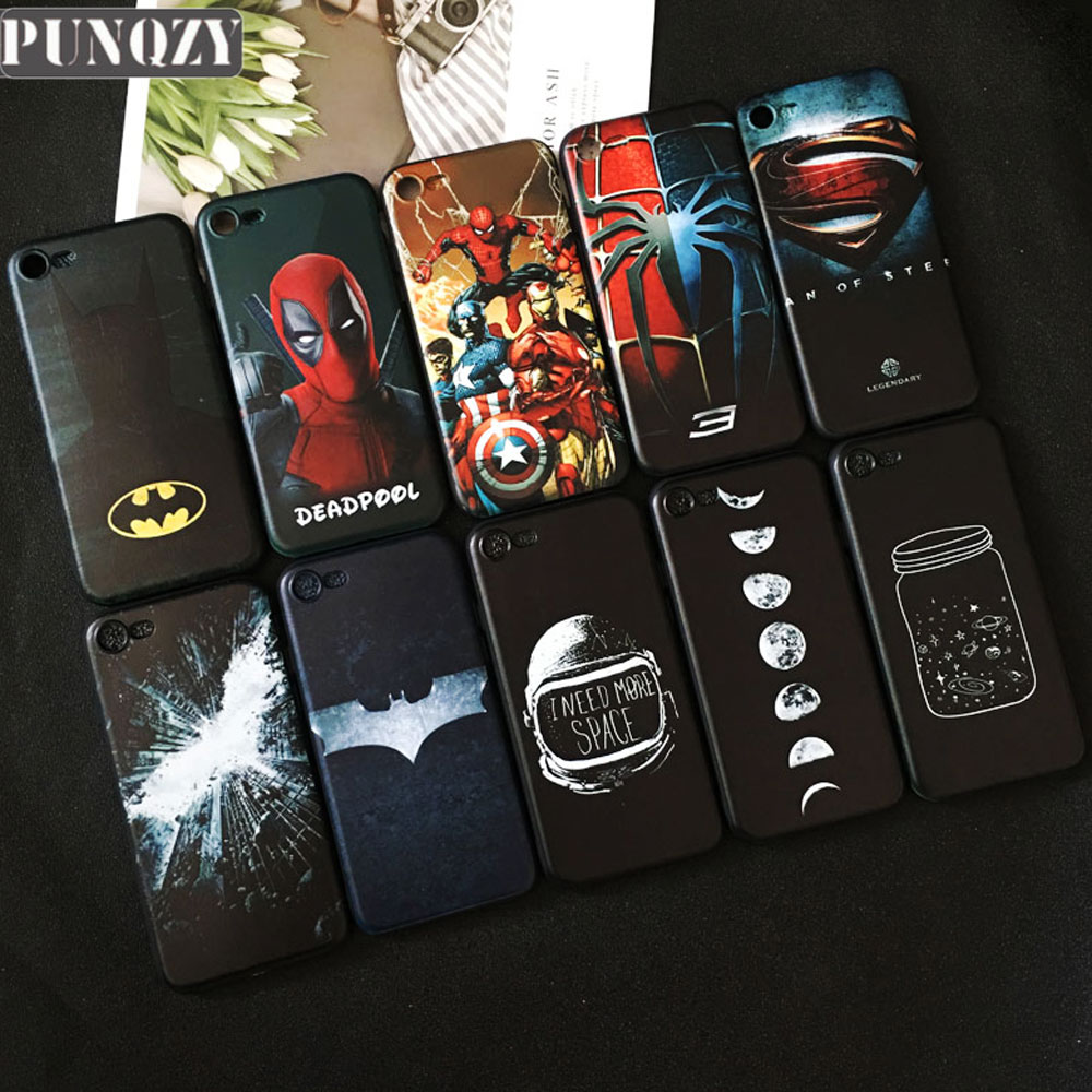 Cool marvel Black Phone Case For iPhone 6s 7 8 Plus XR X XS MAX Spiderman Batman Patterned TPU Silicone case for iphone 5 5s 4s чехлы марвел