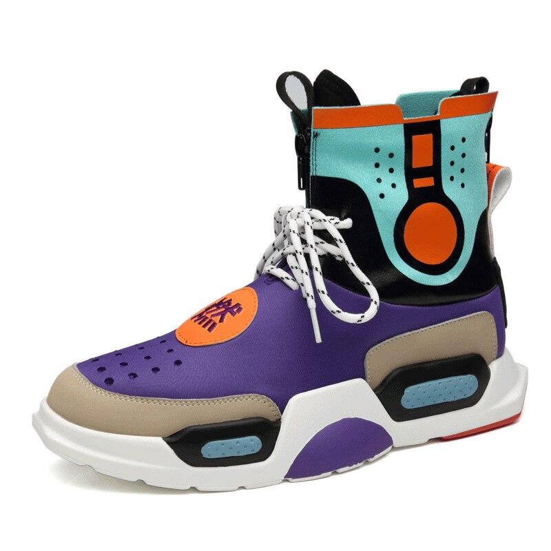 Chaussures en cuir véritable pour hommes chaussures vulcanisées WUDAO papa chaussures haute aide chaussures pour hommes chaussures de sport baskets hautes hommes Tenis décontracté