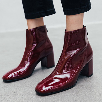 ISNOM Cow Leather Ankle Boots Women Zip Booties Woman Thick High Heels Shoes Female Party Square Toe Shoes Ladies Autumn 2019