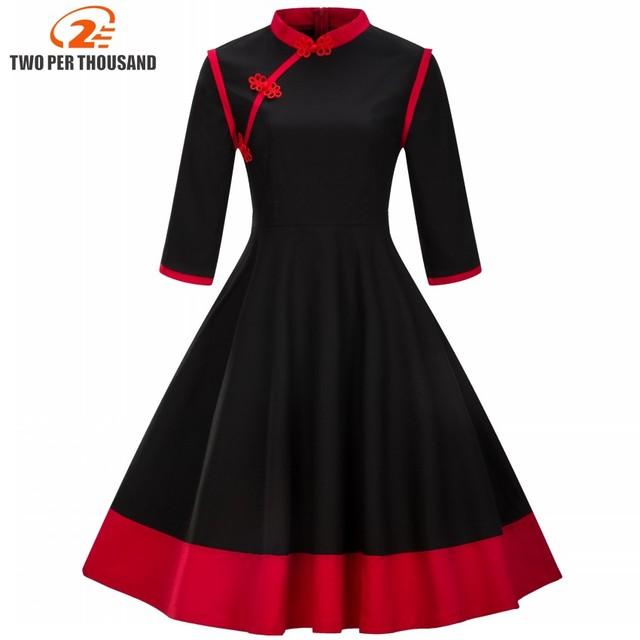 ملابس للسيدات بمقاسات كبيرة 3XL 4XL فستان عتيق لاستعادة الياقة القديمة لربيع وخريف الماندرين مرقع باللون الأسود والأحمر