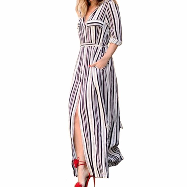 794c005a952f79 YJSFG HUIS Vrouwen Zwart Wit Lange Maxi Gestreepte Shirt Jurk Dames Sexy  Elegant Design Lange Mouw