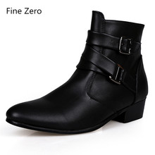 Fine Zero New 2018 spring Autumn Men pointed toe height increase ankle boots male fashion leather dress high tops High heels