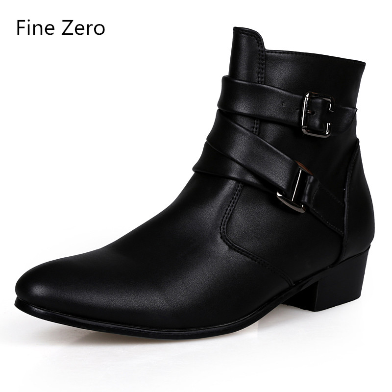 Fine Zero New  Spring Autumn Men Pointed Toe Height Increase Ankle Boots Male Fashion Leather Dress High Tops High Heels