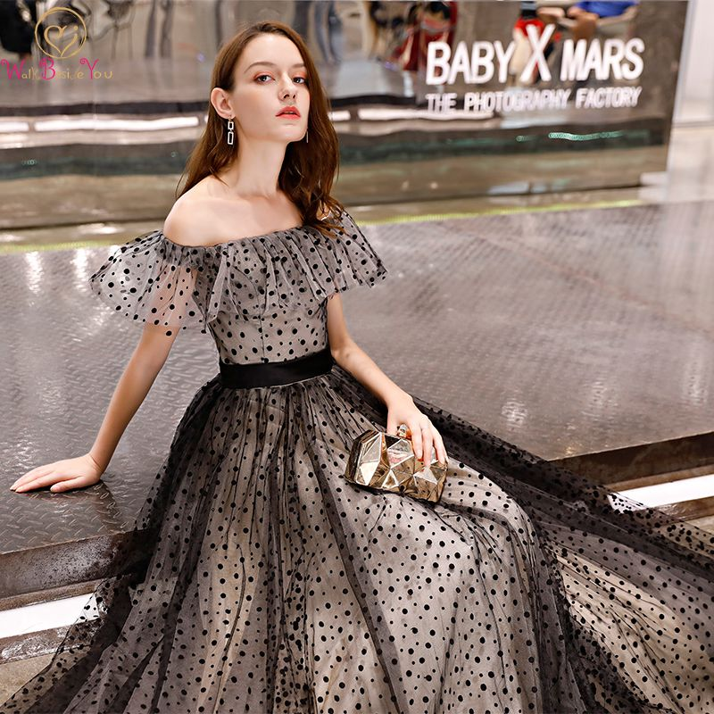 Walk Beside You Black Prom Dresses Dot Tulle Champagne Off Shoulder Fashion  A-line Long 740510d95536