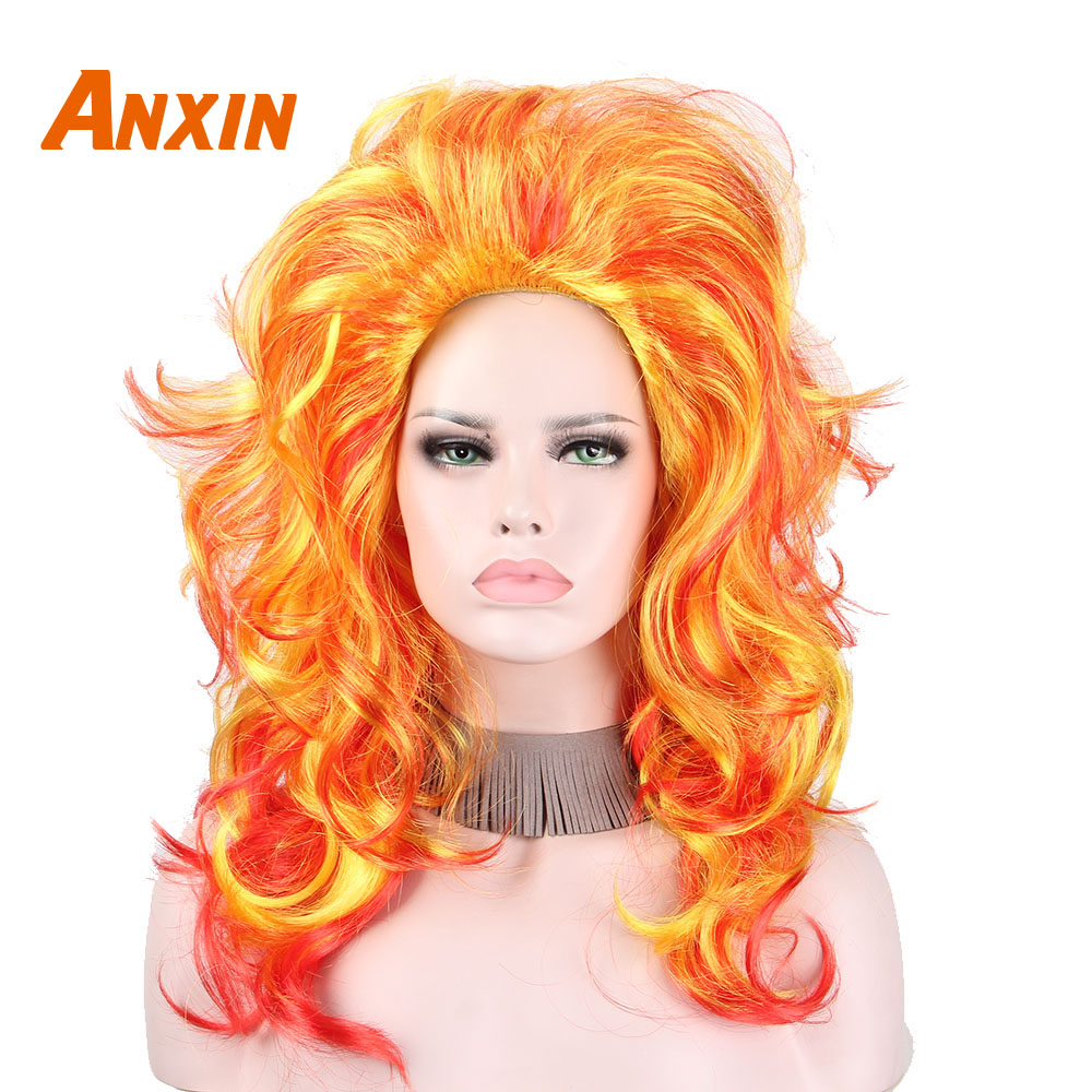 Anxin Orange Highlight Fashion Synthetic Wigs Orange Gradient Afro Cosplay Wigs for Black Women Long Golden Blonde Curly Hairs