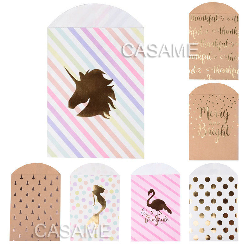10pcs Unicorn mermaid <font><b>Paper</b></font> Gift <font><b>Bags</b></font> Pink Candy <font><b>Bag</b></font> Christmas Baby Shower Birthday Party Supplies Decor Flamingo Decoration image