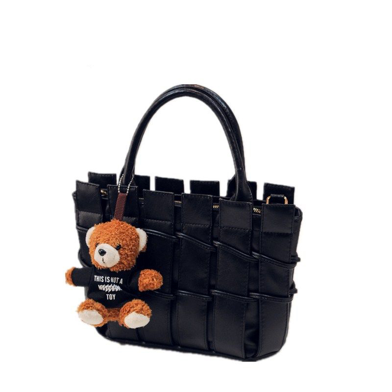 Woven Pattern Bear Ornament Ladies Designer font b Handbag b font Women Classy PU Hand Bag