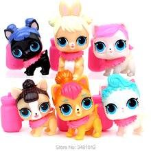 6 pcs lol Bonecas Animais de Estimação bebek PVC Figuras de Ação lol serie 3 bola boneca Cão poupee Bebê Crianças brinquedos para Meninas Crianças de Aniversário presente