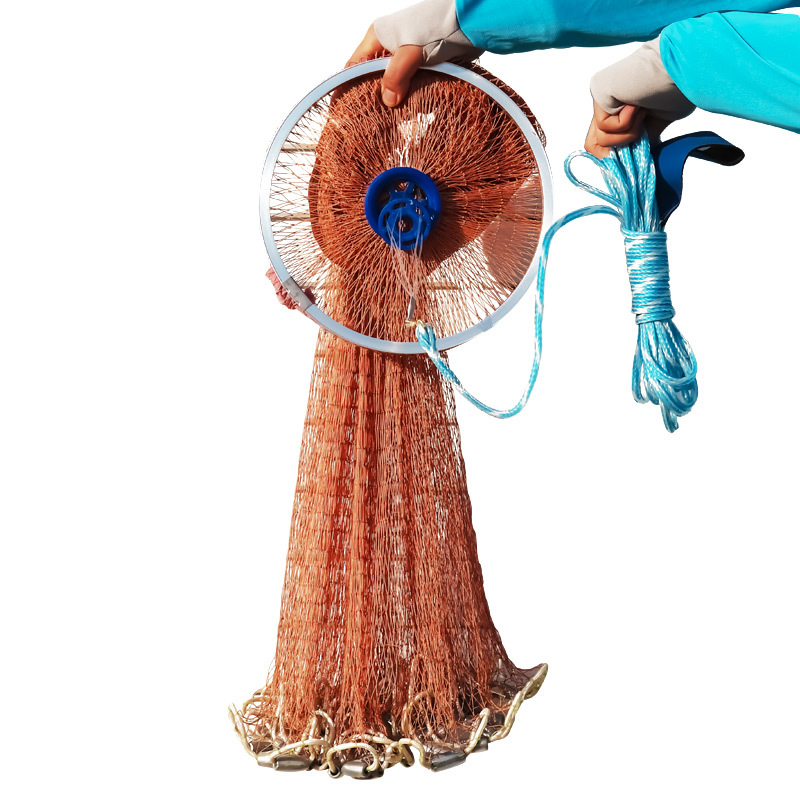 Haute Résistance Petit Filet Américain Coulée À La Main Net avec Plombs Coulée De Pêche Réseau 240 cm 300 cm 360 cm 420 cm Dia. Outils de pêche
