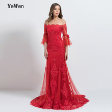 YeWen Mermaid Red Off The Shoulder Evening Dress Autumn Long Sleeves 2018  Women Flare Sleeve Evening Gown engagement dre 49f017340c24
