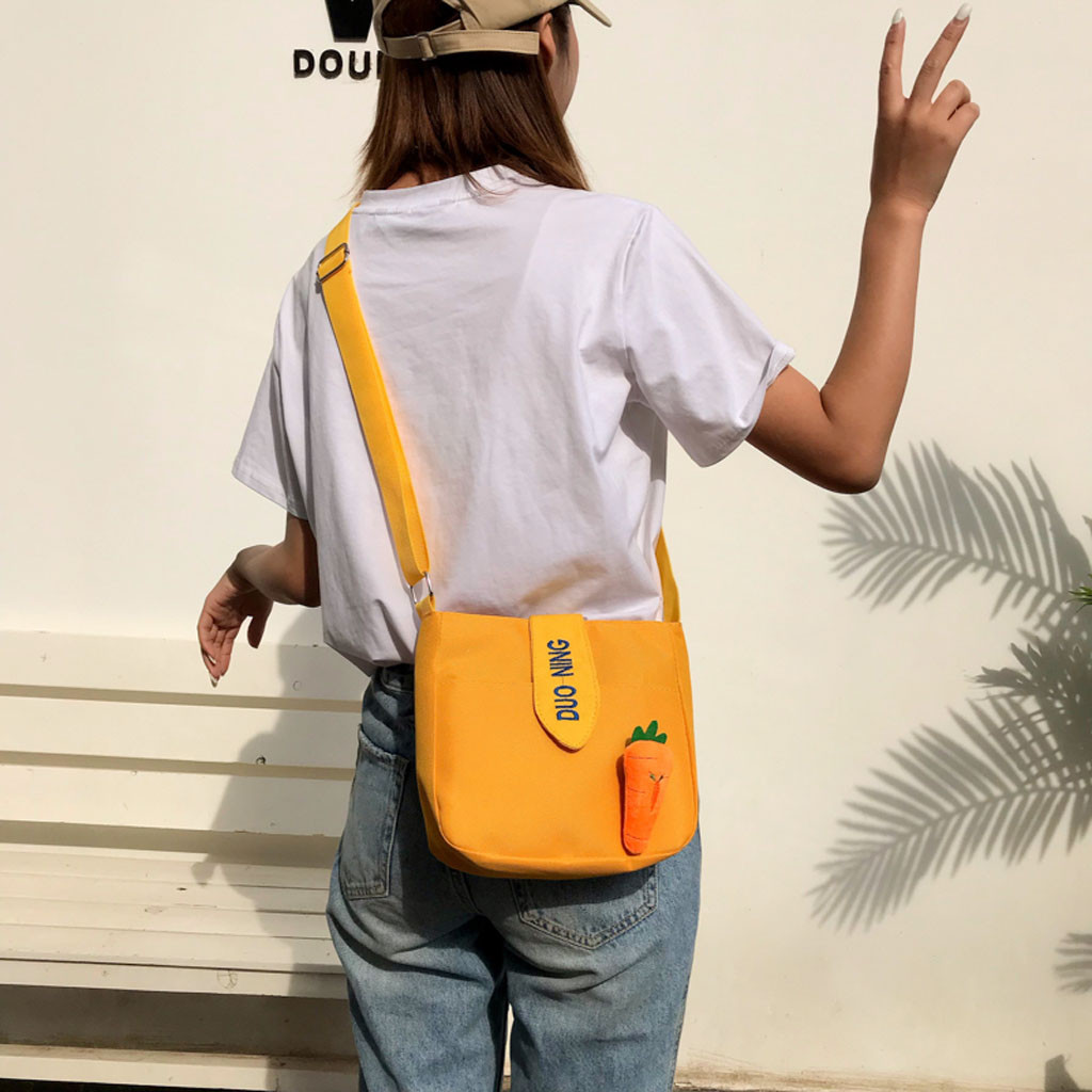 Lady Messenger Bags Cute Solid Color Canvas Shoulder Bag Carrot Wild Zipper Crossbody Bag Bolsas De Mujer Clutch Sac(China)