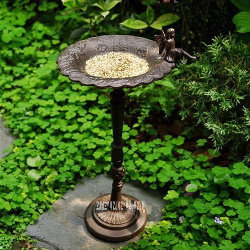 Extérieur mangeoire pour oiseaux En Fonte Plancher Vertical mangeoire pour oiseaux Haut Pôle Oiseau Bol Maison Jardin Décoration Oiseaux en Supplie