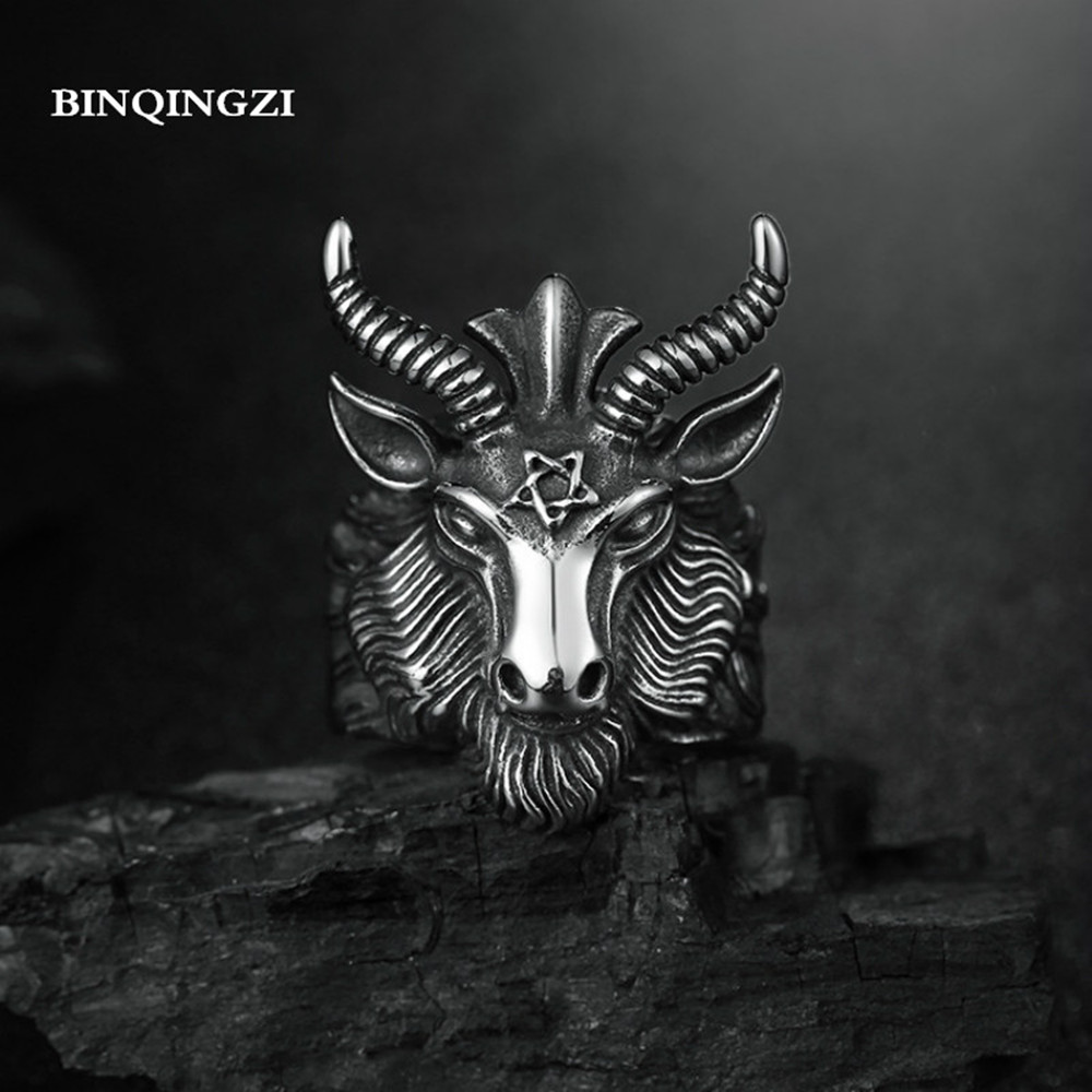 Charms Big Goat Head band Ring men neo gothic black metal magic Pentagram badges rings groot