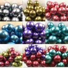 Balão de metal azul, balão de metal dourado, prata, roxo, verde, para decoração de balão, de casamento, feliz aniversário, látex, de metal, cromado, com 10 peças