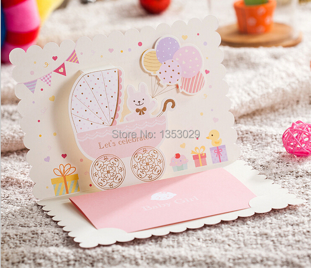 aliexpress : buy free shipping 24pcs/lot 3d cartoon cute baby, Baby shower invitations