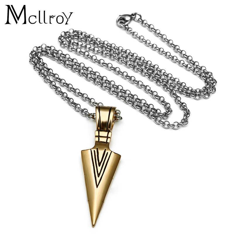 Mcllroy geometryczny trójkąt naszyjniki dla mężczyzn ze stali nierdzewnej złoty mężczyzna wisiorek naszyjniki dławik overwatch mężczyzn biżuteria