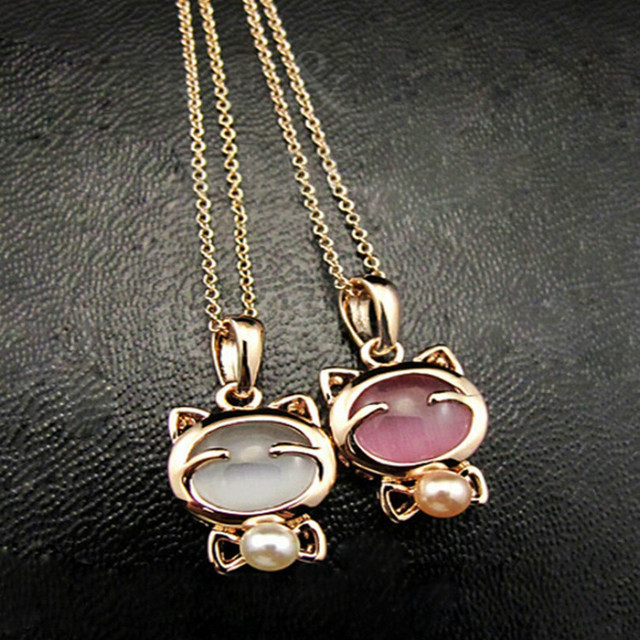 Fashion Jewelry Lucky Cat Bohemian Statement Necklace Cat Eye Stone Pendant Necklace Female Elegant Necklace