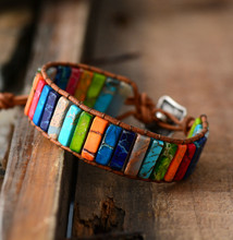 Chakra Bracelet Jewelry Handmade Multi Color Natural Stone Tube Beads Leather Wrap Bracelet Couples Bracelets Creative Gifts(China)