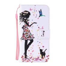 Fashion Mobile Phone Case Stand Style Magnet Flip Wallet Cover  Leather Girl Cartoon Pattern With Lanyard Case For  samsung J7