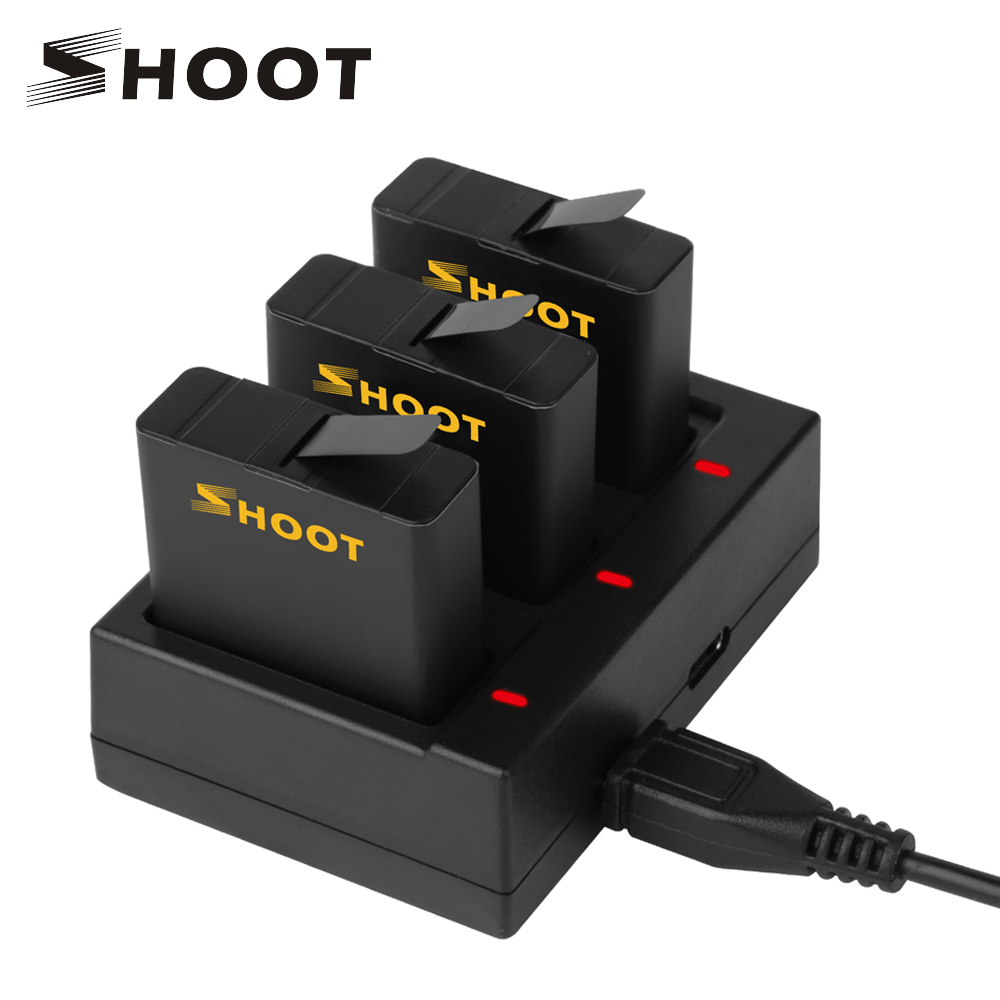 SHOOT AHDBT-501 Three Ports USB Charger with 1220mAh Battery for GoPro Hero 5 Black Camera For Go Pro Charging Accessories Set