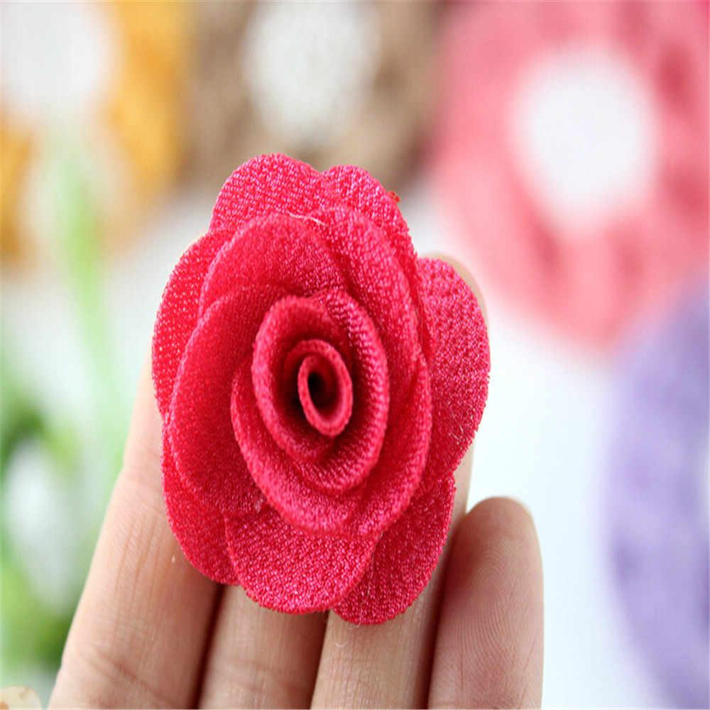 ขายส่ง 4 ซม. ขนาดเล็ก burlap ผ้าดอกไม้, 22 สี U pick พัฟดอกไม้ Rosettes DIY อุปกรณ์เสริมผม