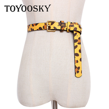 2019 Women Belts for Dress Leopard Horsehair PU Pin Buckle Waistband Wide All-match High Quality Female TOYOOSKY