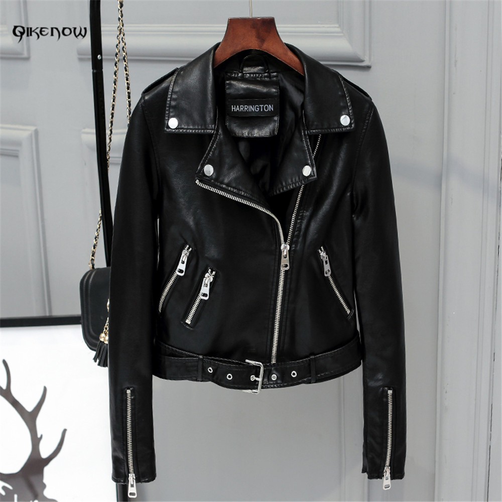 Original QikenowDPY-036 Autumn PU Leather Jacket Sashes Short Coat Slim Zippers Leather Jacket Women Spliced Perfecto deri ceket
