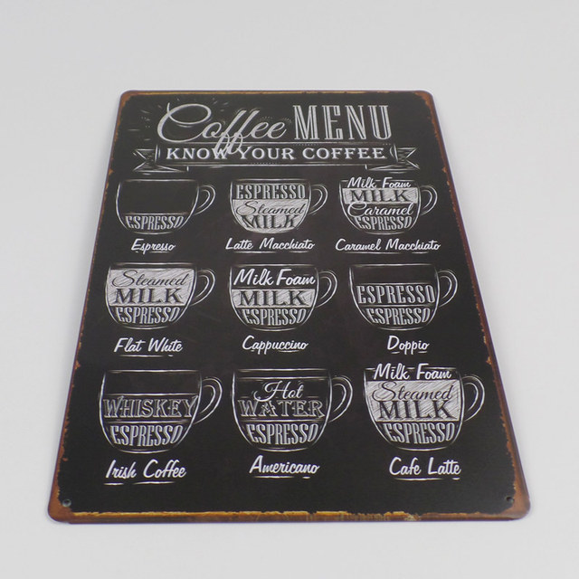 Vintage Coffee Themed Metal Plaque