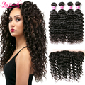 Top 7A Brazilian Virgin Hair With Closure Brazilian Deep Wave Hair With Closure Ear To Ear Lace Frontal Closure With 4 Bundles
