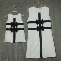 Aiqingsha Mother Daughter Dresses Sleeveless Summer Autumn Party Dress Bownot White Black Vest Dress Family Matching