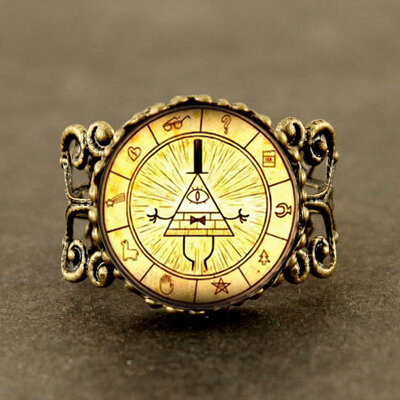 Steampunk Drama Gravity Falls Mysteries BILL CIPHER WHEEL Pendant ring glass doctor who 1pcs/lot Glass mens handmade new jewelry