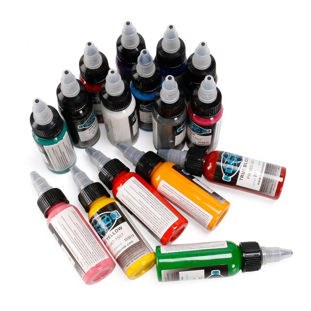 Fusion Tattoo Ink 16 Colors Set 1 oz 30ml/Bottle Tattoo inks Pigment Kit for 3D makeup beauty skin body art