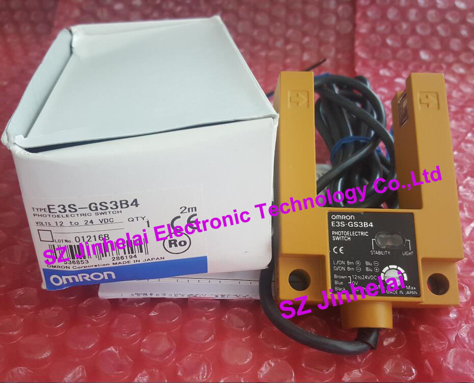 100%New and original E3S-GS3B4 OMRON Photoelectric switch 12-24VDC 2M PNP new and original e3z ll86 e3z ls86 omron photoelectric switch 12 24vdc