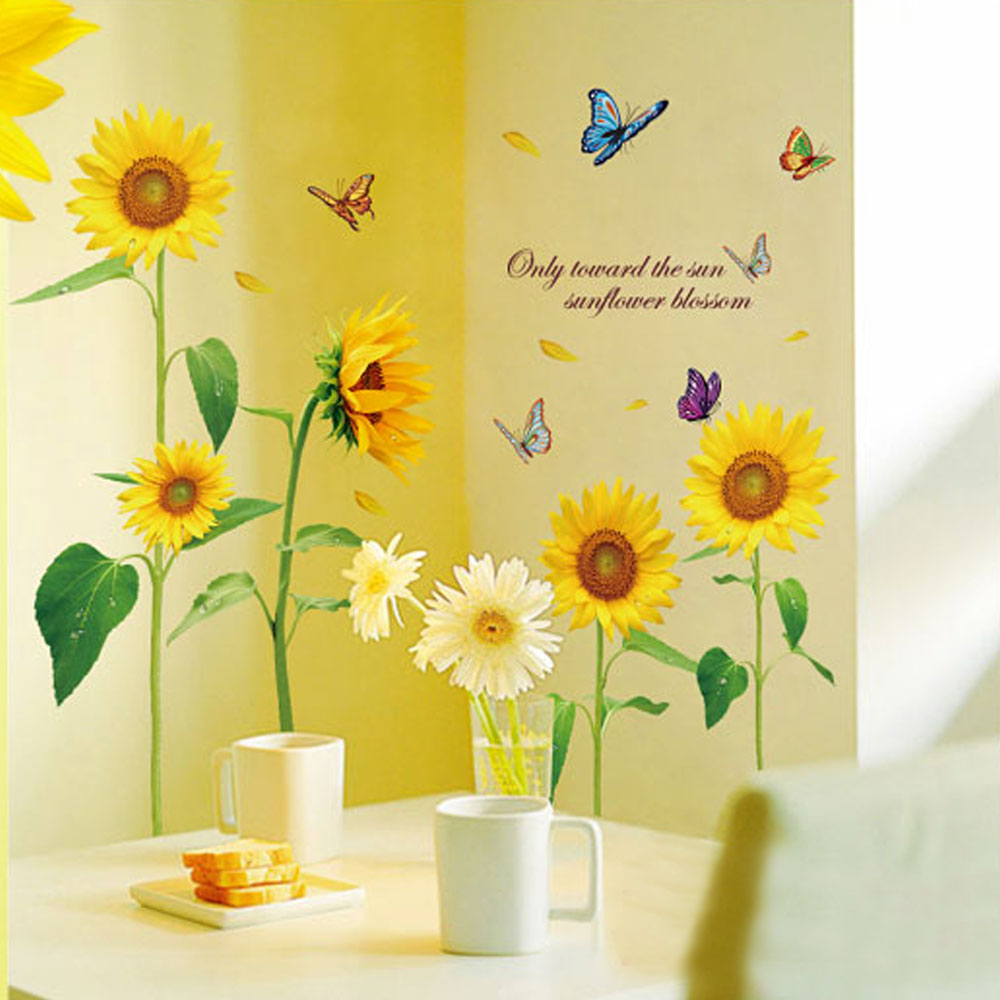 Sunshine Sunflower Butterfly Wall Stickers Dancing in Summer ...