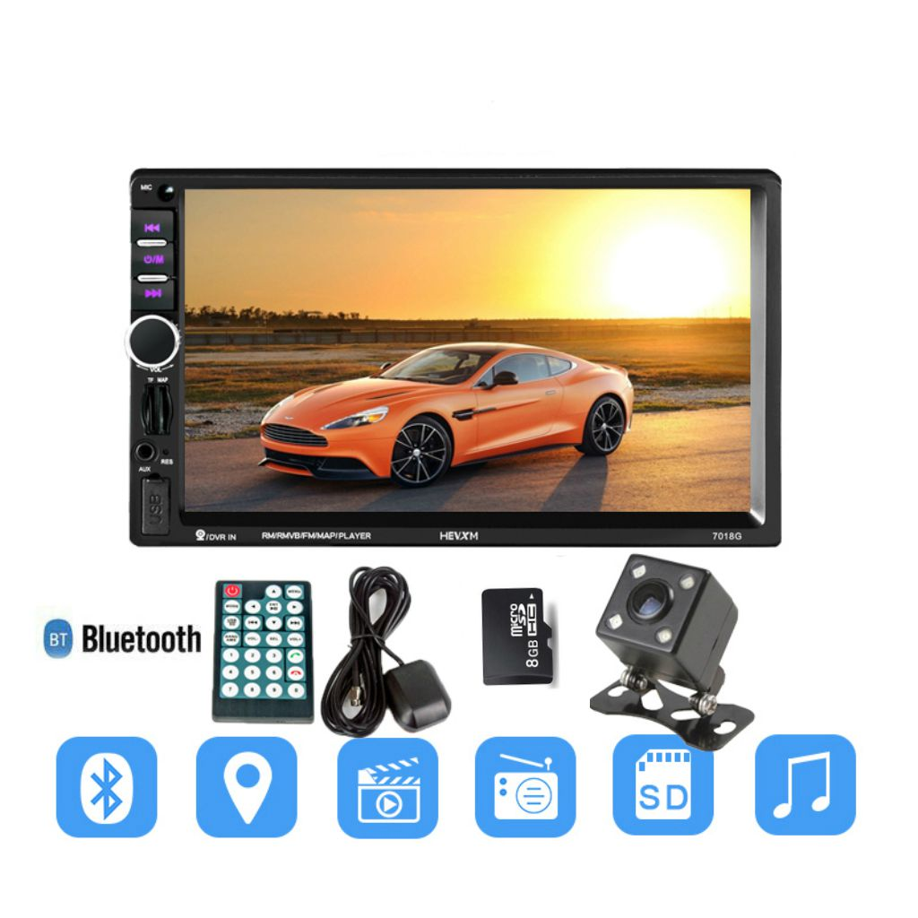 7018G 2 Din 7 inch HD Touch Screen Car Radio Multimedia MP5 Player GPS Navigation with Camera and Middle East Maps Bluetooth A a gauge 7 inch lcd at070tn94 highlight navigation screen screen