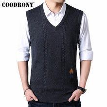 COODRONY Sweater Men V-Neck Sleeveless Vest Pull Homme Knitted Cashmere Wool Mens Sweaters 2019 Autumn Winter pullover men 91018