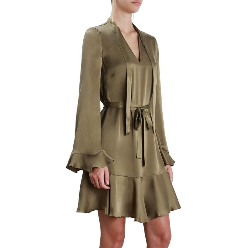 AEL Satin robe ample col en V Mini Sexy robe droite armée vert femmes robes soirée volants à manches longues ceinture réglable