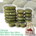new 22pcs/set green jade body massage hot stone SPA with canvas CE and ROHS 8pcs(5x6)+6pcs(6x8)+8