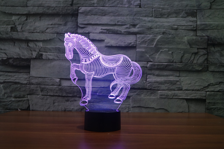 7 Colors Cartoon Small Horse Racing Toy Action Figures Starfleet 3D Table Lamp Led Toys Funny Gift Decoration The Horse