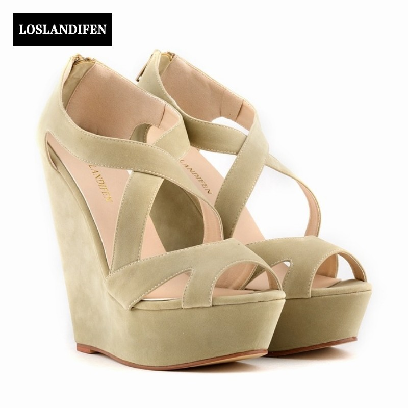 New Fashion Woman Wedges Heel Shoes Female Peep Toe Casual Shopping Sandals Rome platform For Woman High Heels shoes Back zipper 2016 genuine leather women sandals fashion peep toe shoes woman popular mixed color wedges high heels glitter platform shoes