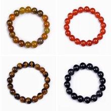8-10mm Original Crystal Natural Women Men Bracelet Agate Amber Obsidian Jade Charms Unisex Beads Yoga Stretch Bracelets Bangles