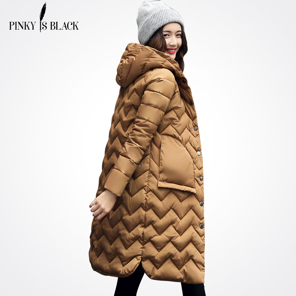 Pinky Is Black New Winter jacket Women 2017 Warm High Quality Quilting Woman Parkas With Hood Pockets Winter Women Coat Outwear tfmln 2017 new warm women parkas down cotton jacket hooded coat woman outwear clothes winter high quality jacket with pockets