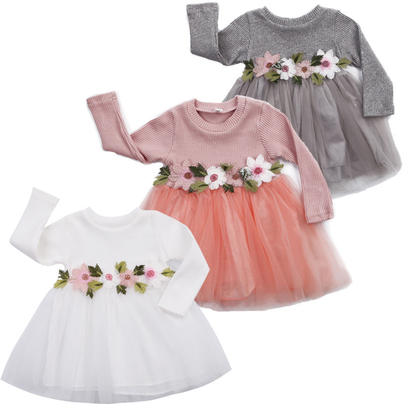 Toddler Baby Girl Dresses Floral Tutu Skirt Knitted Tulle Long Sleeve Princess Dress Outfits Clothes Set